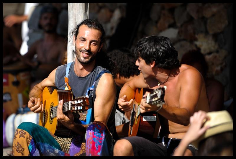 Musicians at Benirras beach in Ibiza