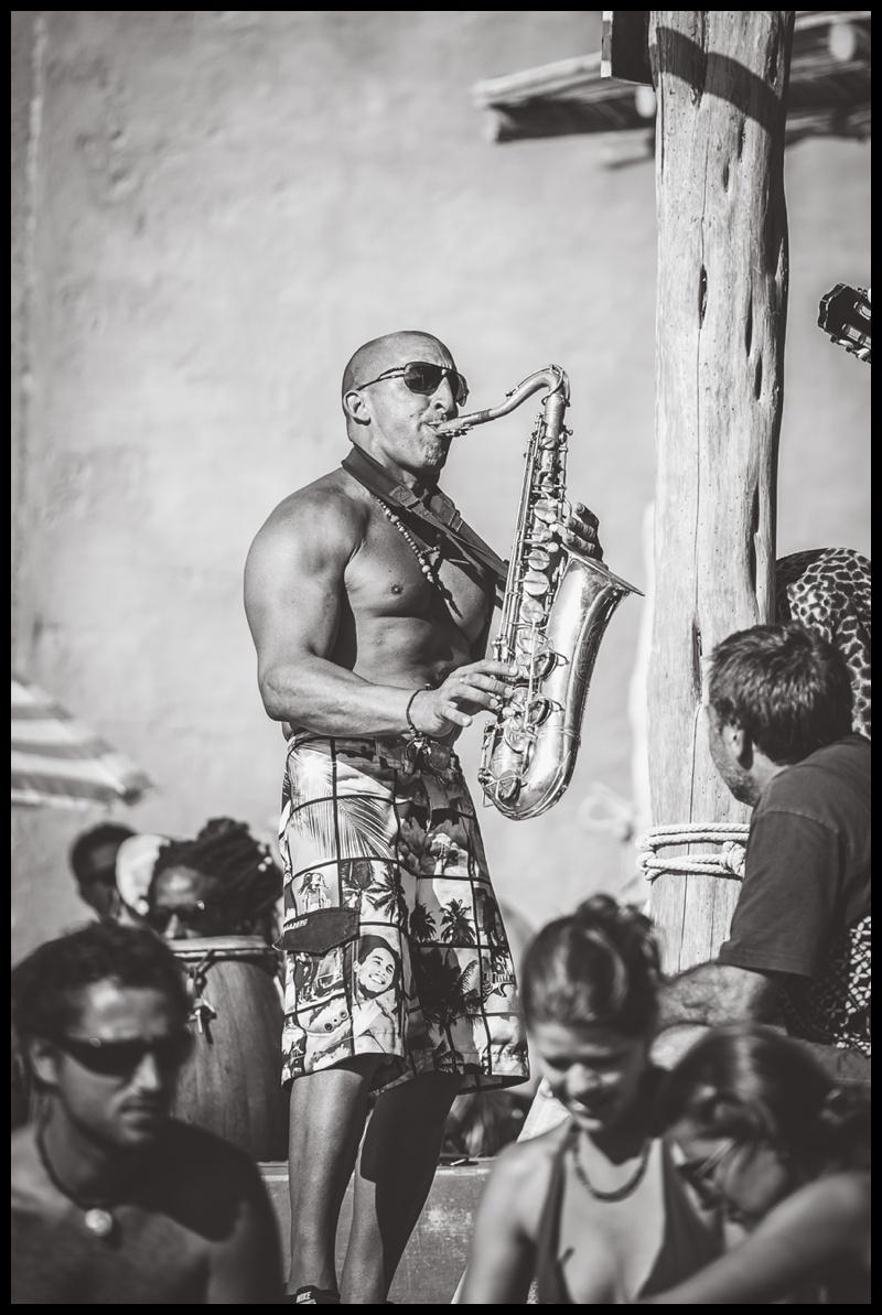 Sax playing on Benrras beach in Ibiza