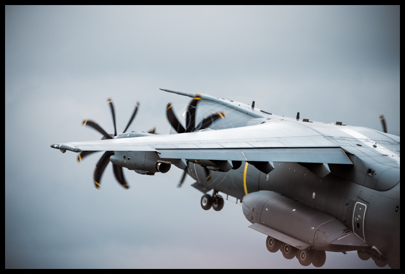 A400 climbing out of RAF Fairford during RIAT 2019